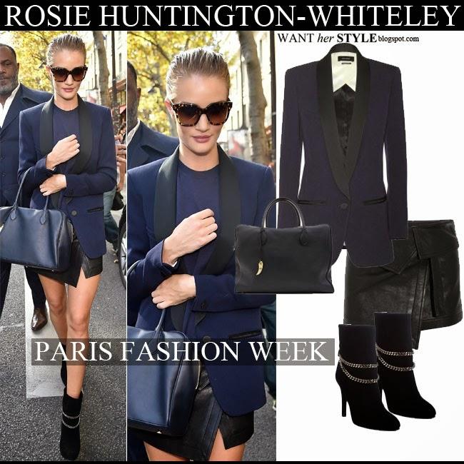 96ecae8ff6 Rosie Huntington-Whiteley in blue and black blazer Isabel Marant Lahore
