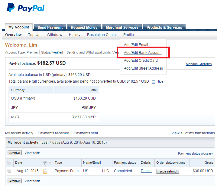 How to transfer money from bank account to paypal / T mobile phone