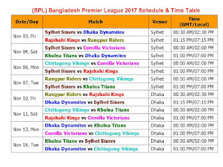 BPL Bangladesh Premier League 2017 Schedule & Time Table,bpl 2017 full schedule & time table,Bangladesh Premier League 2017 all teams,Bangladesh Premier League 2017 player list,team squad,full schedule,bangaldesh t20 cricket,match timming,place,score, Sylhet Sixers, Dhaka Dynamites, Rajshahi Kings, Rangpur Riders, Comilla Victorians, Khulna Titans, Chittagong Vikings, Bangladesh Premier League (BPL) 2017 Fixture,schedule,full fixture & time table,icc,2017 cricket time table,bpl 2017 schedule,2017 bpl fixture, BPL 2017 fixture,