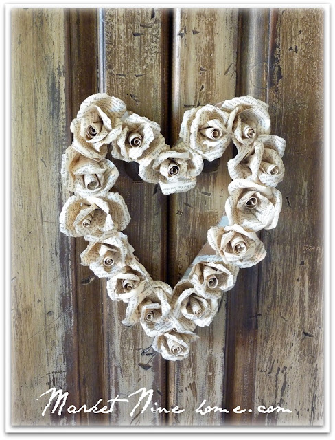 paper roses heart shaped wreath