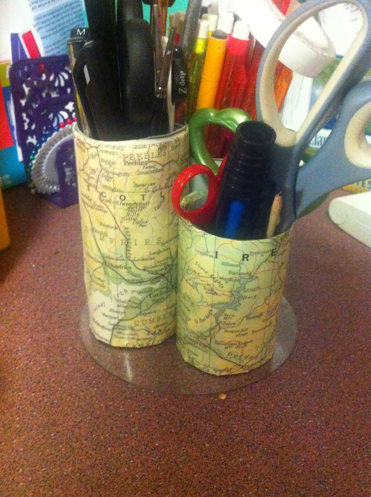 DIY- with old maps | London Pin Stripe Map Holders Storage on map of mexico classroom, shoes storage, rolled plan storage, tools storage, magazine holders storage,