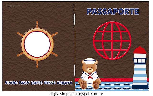 Imprimible con forma de Pasaporte de Osito Marinero  para Imprimir Gratis.
