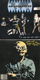 """Cubierta y contracubierta del primer lanzamiento de Devo en 45 revoluciones por minuto, """"Mongoloid"""" (Cara A) + Jocko Homo"""" (Cara B) en 1977, bajo el sello independiente Booji Boy Records"""