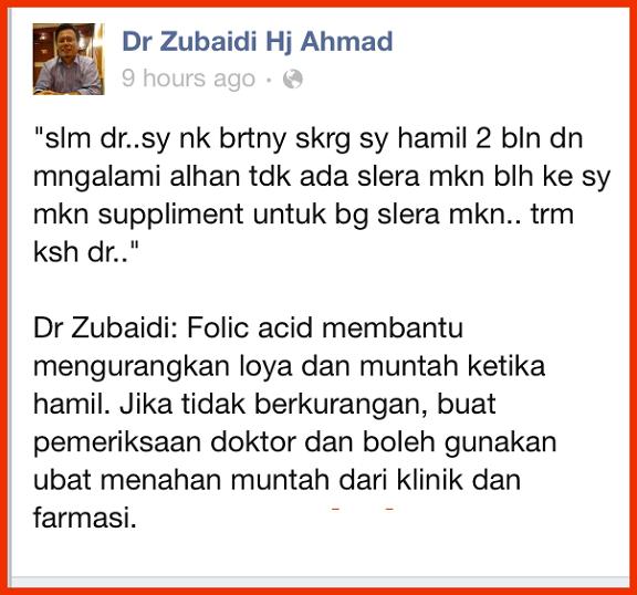 asid  folik mengurangkan alahan hamil