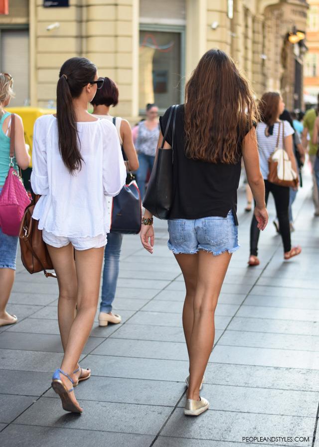 Ulična moda u Zagrebu: nekoliko osunčanih stajlinga, street style fashion back to school, how to wear white shorts, denim shors