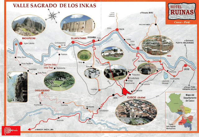 Mapa do Vale Sagrado dos Incas, Peru