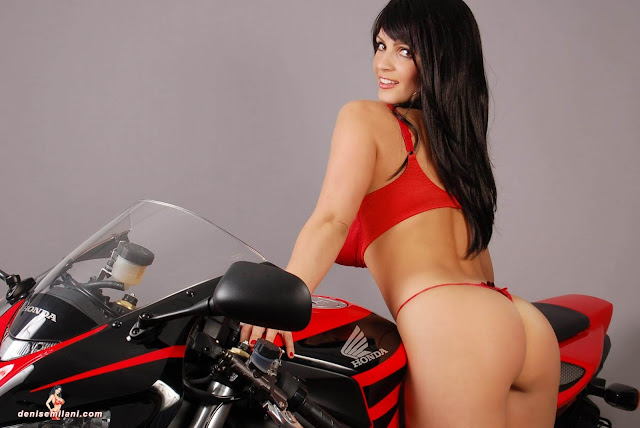 Denise-Milani-Bike-Photoshoot-in-red-hot-bikini-picture-24