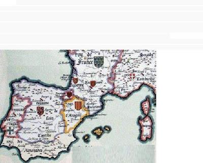 mapa, Aragón, antiguo, Jaime I, Muret, Corbeil
