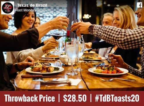 Oct. 8-9 | Texas De Brazil Celebrates 20th Anniversary with Throwback Pricing!