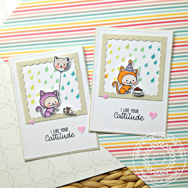 Sunny Studio Stamps: Rain Showers Francy Frames Purrfect Birthday Card by Franci Vignoli