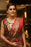 Tapsee Pannu Latest Stills in Red Silk Saree at Anando hma Pre Release Event .COM 0060.JPG