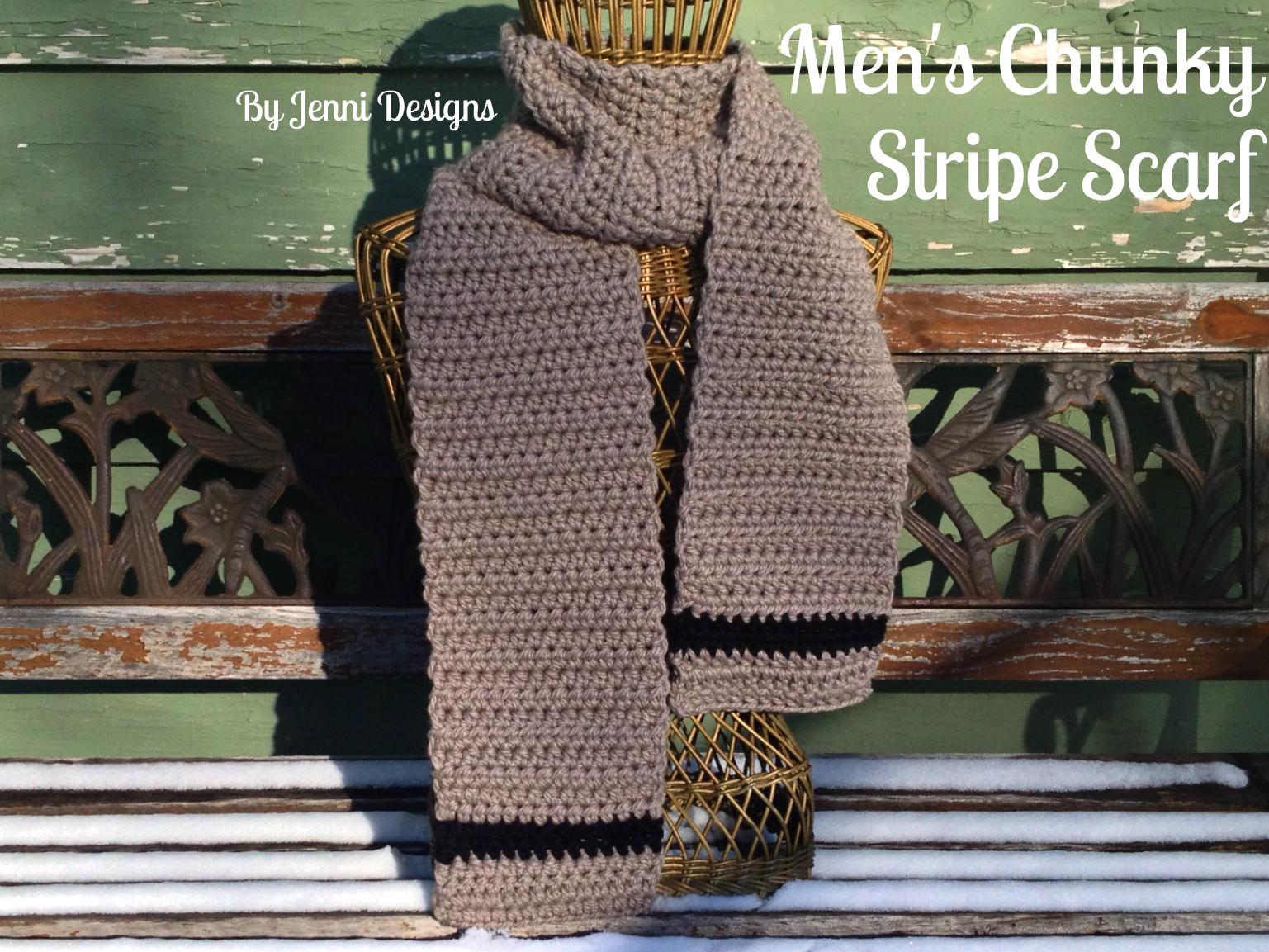 By Jenni Designs Free Crochet Pattern Mens Chunky Stripe Scarf