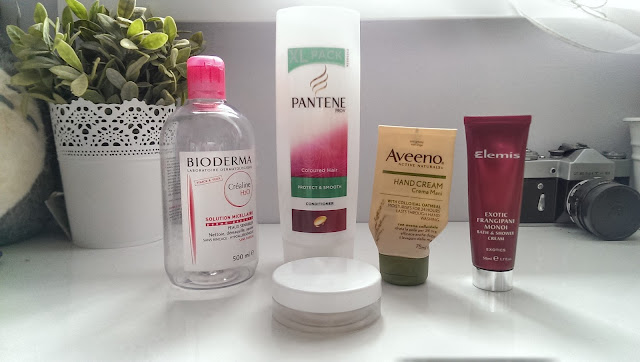 A picture of recent empties including Bioderma & Aveeno
