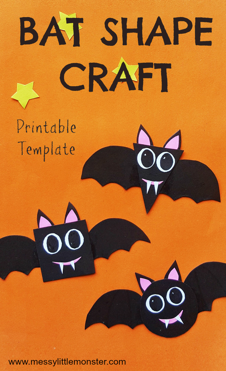 Bat craft and preschool shapes activity (bat pattern included)