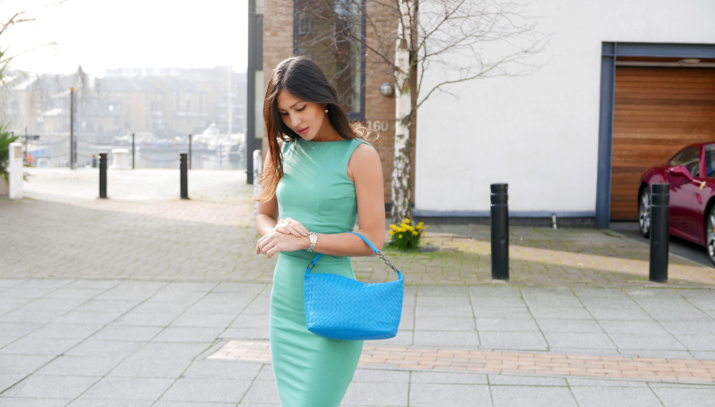 Euriental | fashion & luxury travel | Dsquared2 pale green dress, Bottega Venetta blue bag