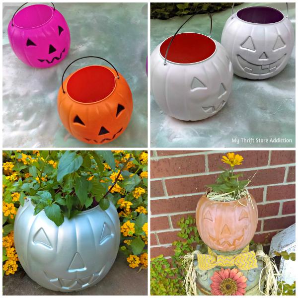 Repurposed plastic pumpkin planters