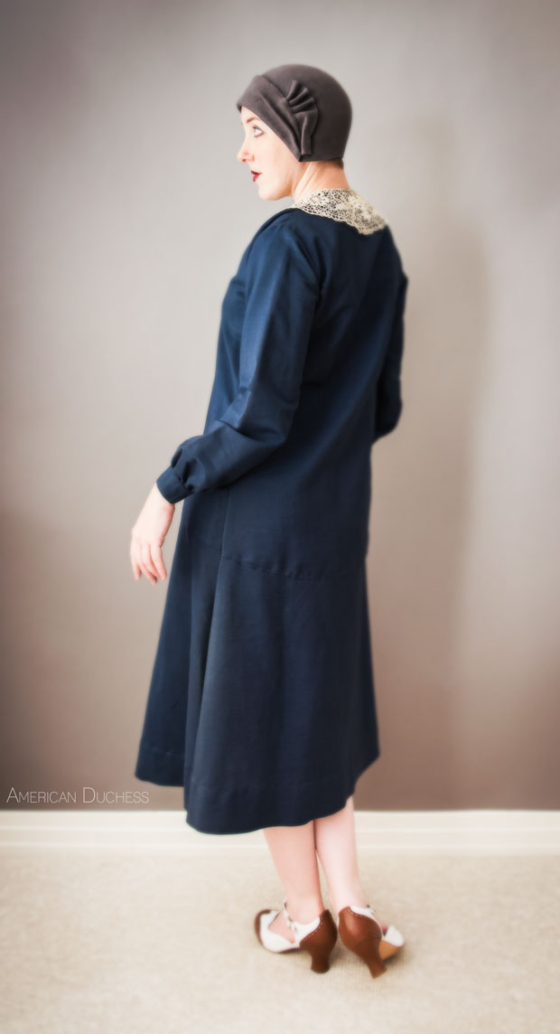 1920s navy blue wool dress with lace collar - American Duchess Blog
