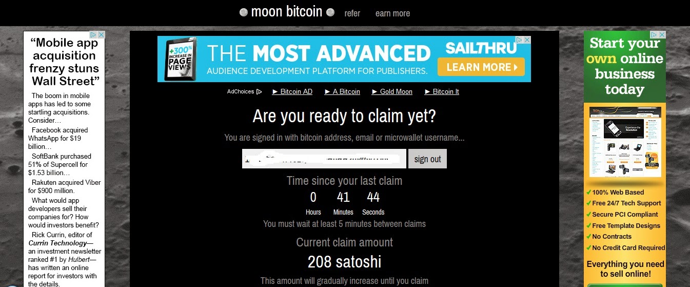 Moon Bitcoin, Bitcoin faucets, online business