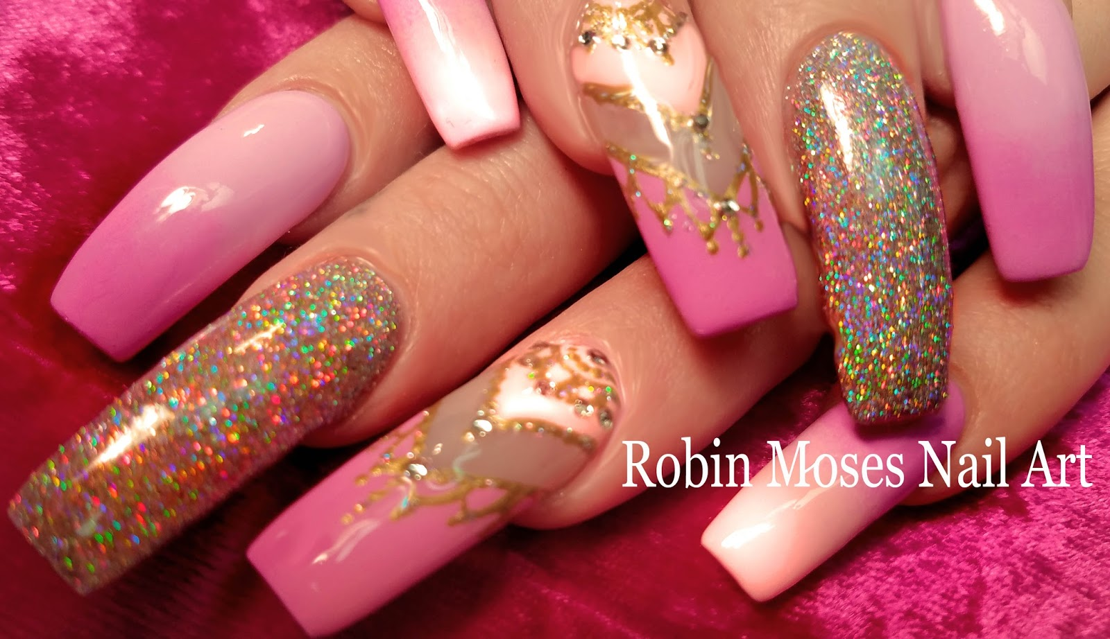 Robin Moses Nail Art Lush Holographic Glitter Nail With Pastel