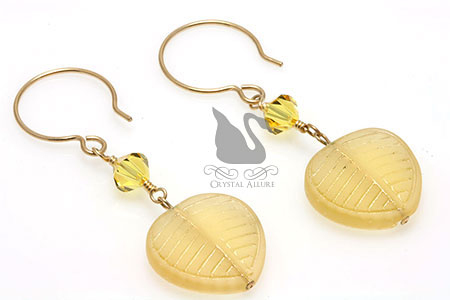 Frosted Leaf Yellow Light Topaz Crystal Beaded Earrings (E132)