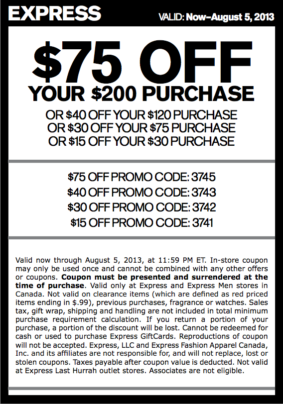 Coupons express clothing store