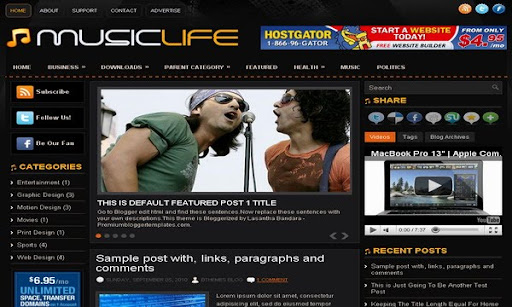 MusicLife Blogger Template