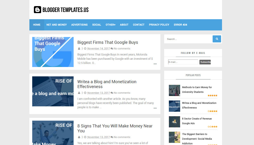 Free Seo Friendly Personal Blog Blogger Template 2017