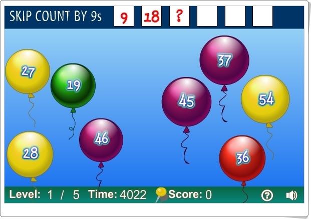 """""""Balloon Pop Skip"""" (Juego de series numéricas de tablas de multiplicar)"""