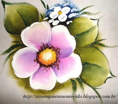 pintura em tecido flor