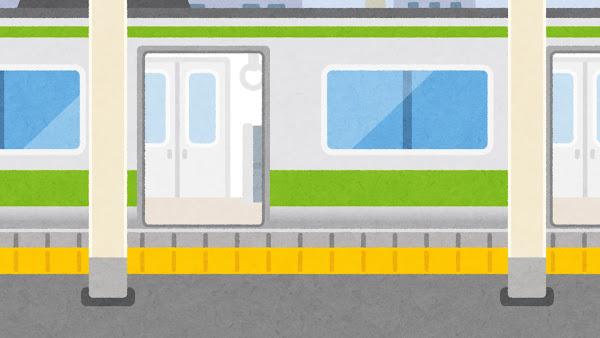 電車が来た駅のイラスト(開いた状態・背景素材)