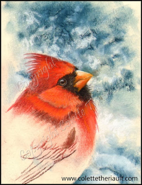 cardinal painting on the easel
