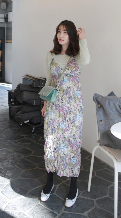 Floral Crinkled Sleeveless Dress