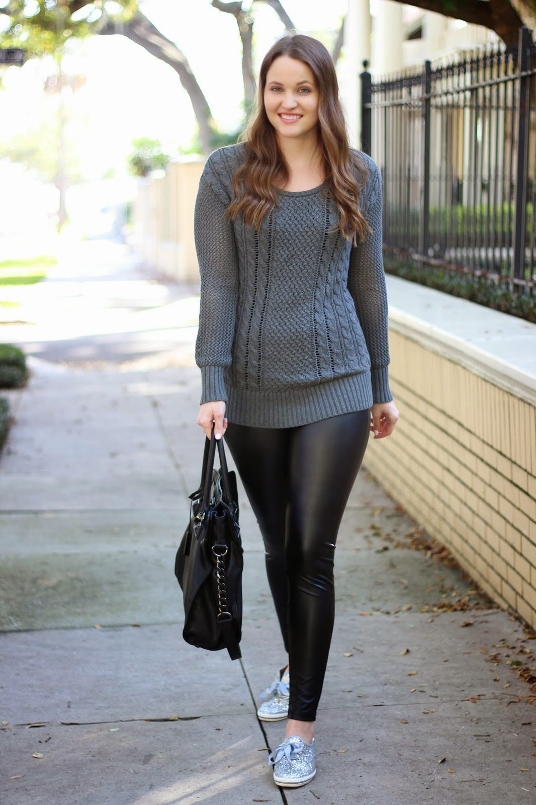 Cable Knit And Faux Leather Kelly Elizabeth Style