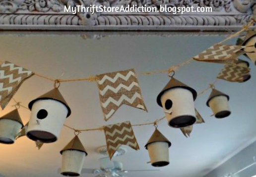 Repurposed birdhouse garland