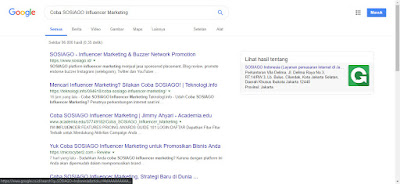 Hasil SERP Coba SOSIAGO Influencer Marketing di GOOGLE