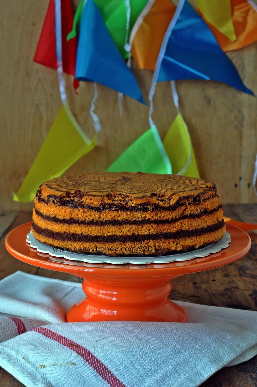 Kek Marble Ogura Coklat Oren Qasey Honey