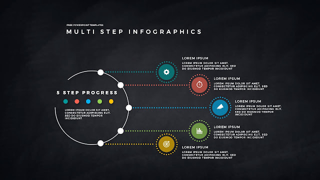 5 Step Circular Progress Infographics for PowerPoint Templates in Dark Background