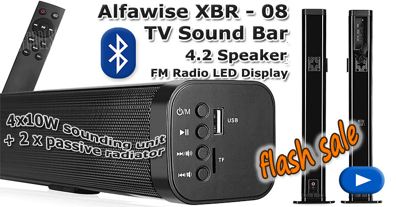 Alfawise XBR - 08 Sound Bar Bluetooth Speaker Flash Sale
