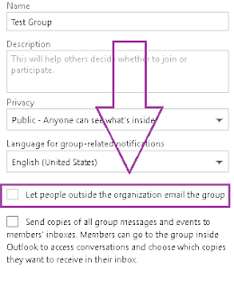 allow guest sender access for Office 365 Groups