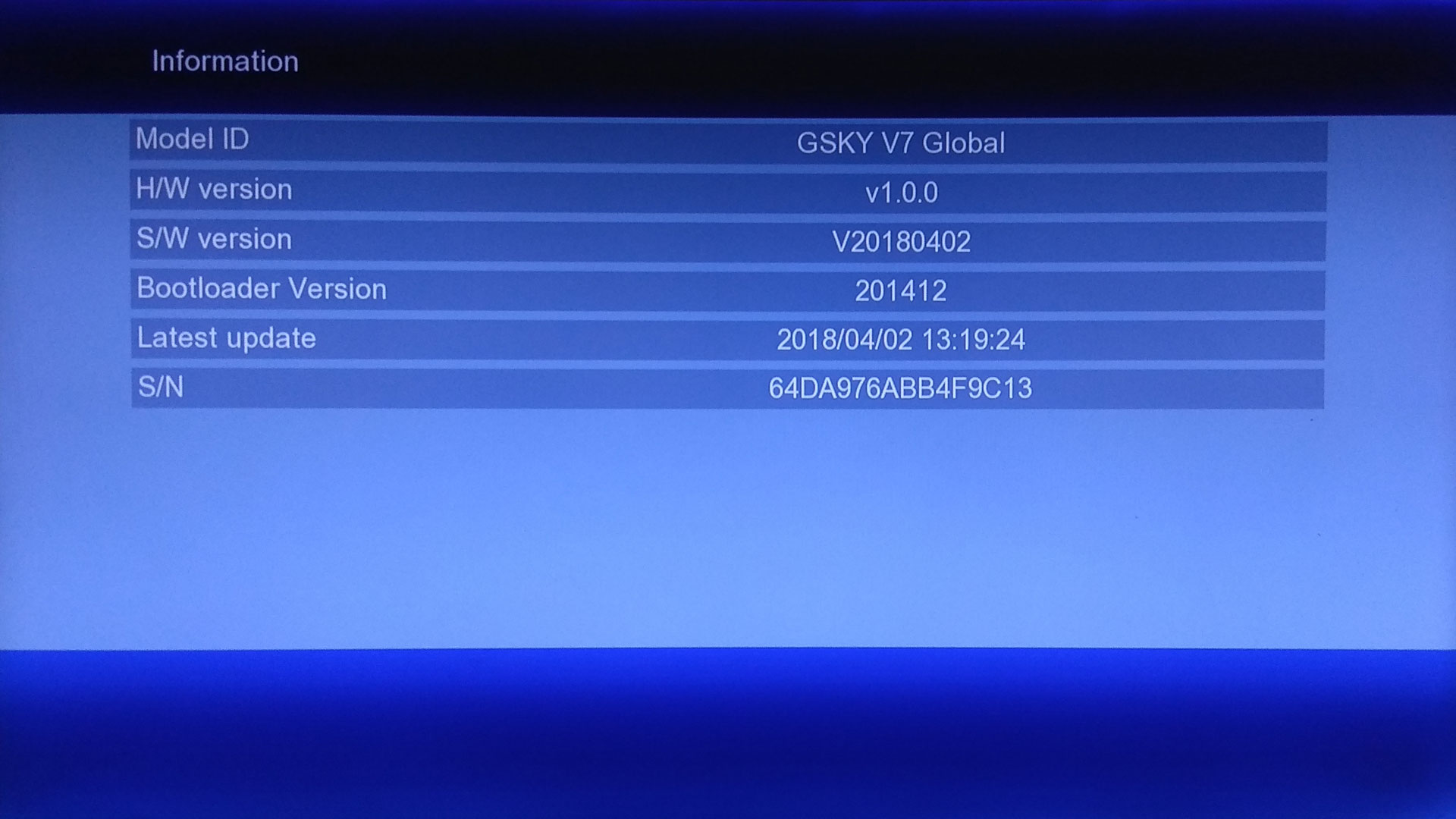 GSKY V7 Global Software Receiver Firmware New Update