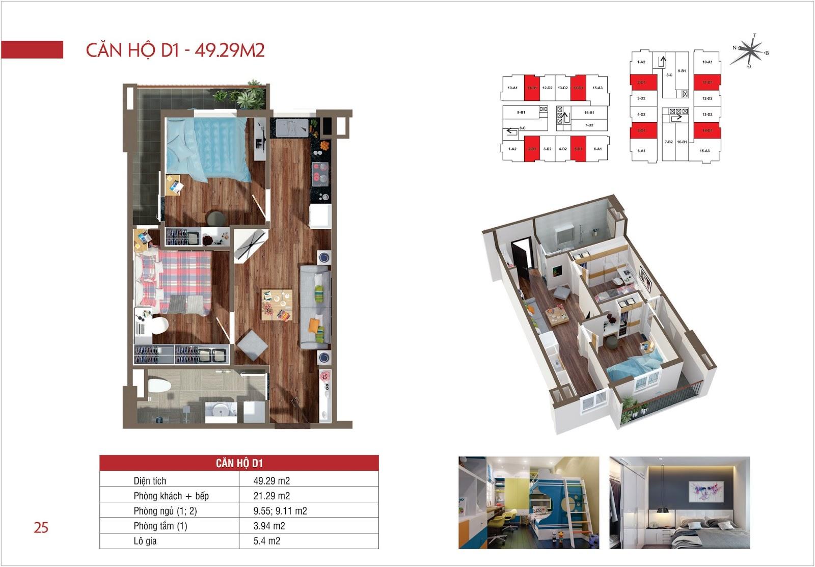 Căn hộ D1 - 49,29 m2 chung cư Lộc Ninh Singashine