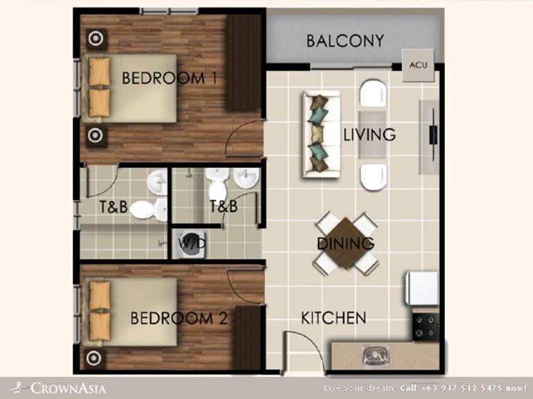 Floor Plan of Valenza Mansions - Two Bedroom Citisuite | Two Bedroom CitiSuite Condominium Unit for Sale Sta. Rosa Laguna