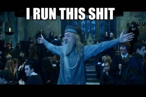 Dumbledore waving his arms in the air