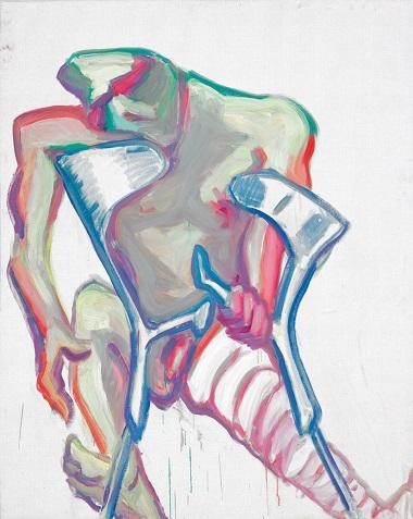 by Maria Lassnig - Senza titolo (stampelle, gamba rotta) - 2005