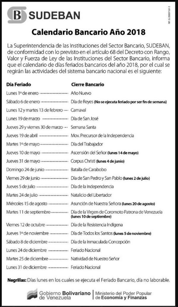 CONSULTE AQUÍ CALENDARIO BANCARIOS Y FERIADOS EN  2018