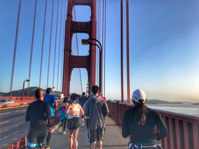 Rock'n'Roll San Francisco Half Marathon running on the bridge