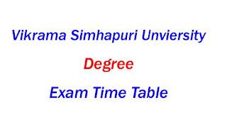 VSU Degree Time Table 2019-2020