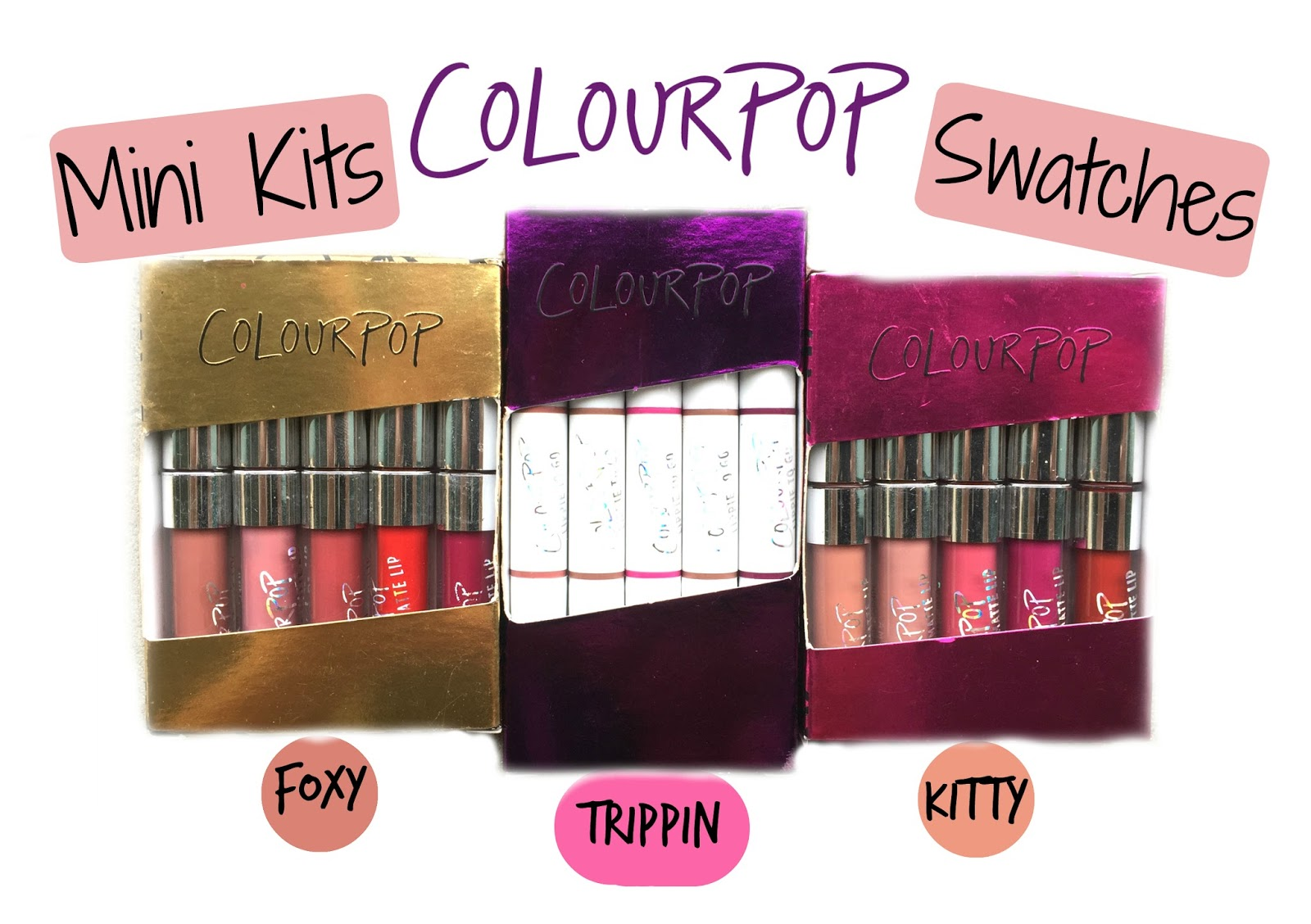 colourpop mini kits swatches foxy trippin kitty