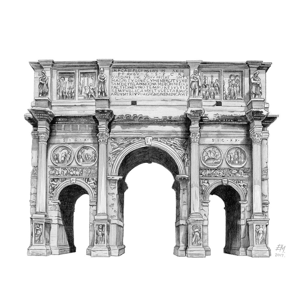 09-Arch-of-Constantine-Rome-Italy-Elizabeth-Mishanina-Architecture-Immaculate-Drawing-Technique-www-designstack-co