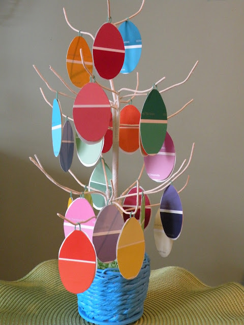 How to make cute easter egg decorations by turning paint chips into an Easter Egg Tree